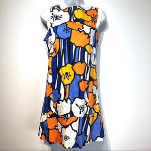zara blue orange floral Pocket Sheath dress size S